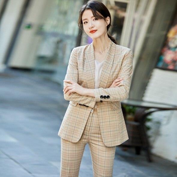 Women's Slim Fit Pants and Blazers Korean Two Piece Office Ladies Suits Plaid Elegant Woman Work Wear Pant Suit Women Pantsuits