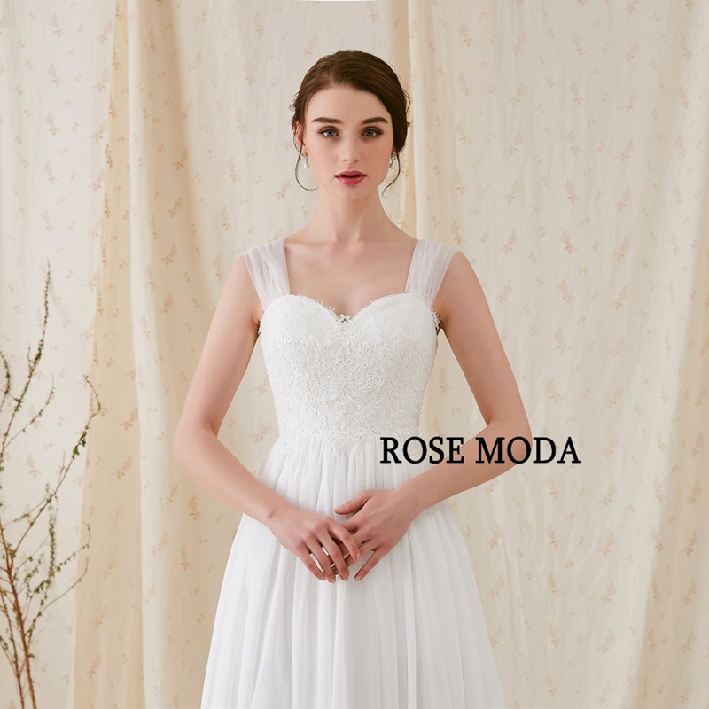 Rose Moda Cap Sleeves Chiffon Boho Wedding Dress with Bow Lace ...