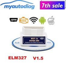 2017 Super Mini ELM327 Wifi V1.5 OBD2 Scanner Interface OBDII ELM 327 Car Diagnostic Tool 2.1 Support Android &IOS Free Shipping
