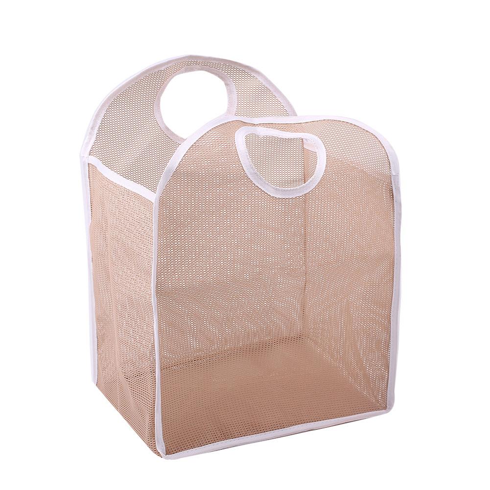 Foldable Washing Clothes Laundry Basket Storage Bag Organizer Mesh Nylon
