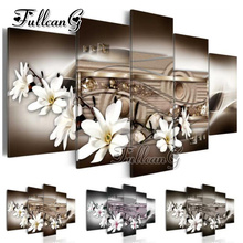 FULLCANG diy 5 pieces diamond painting magnolia flower full square/round drill 5d cross stitch embroidery kits gift FC098