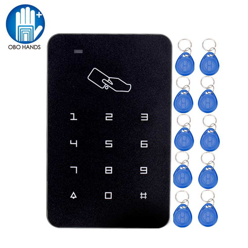 Plastic RFID Reader 125KHz Proximity Door Access Control Keypad Support 1000 Users with 10 ABS Smart Key Tag metal rfid em card reader ip68 waterproof metal standalone door lock access control system with keypad 2000 card users capacity