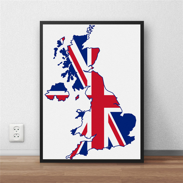 Uk flag modern coated poster library country map world map home uk flag modern coated poster library country map world map home decoration painting cafe restaurant wall gumiabroncs Gallery