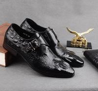 Туфли под платье Для мужчин слипоны Туфли с ремешком и пряжкой из натуральной кожи аллигатора узор с острым носком Smart Повседневное Высота о