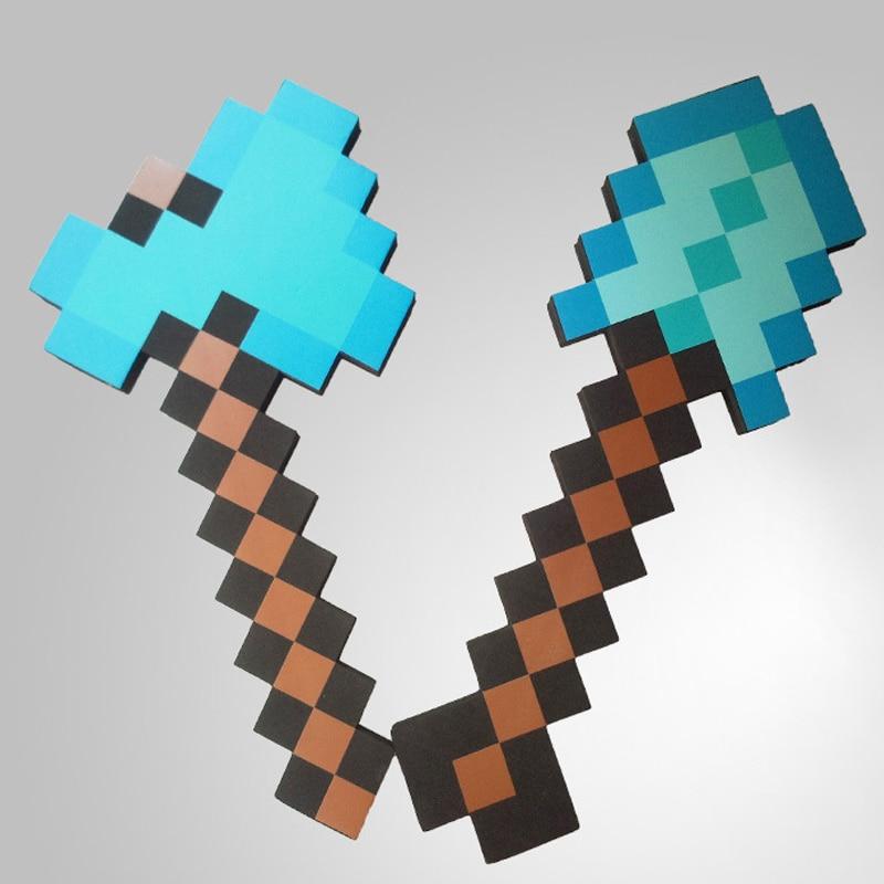NUOVO 45cm Spada di Diamante Minecraft Piccone Ascia pala Morbida Schiuma EVA Regalo Giocattolo