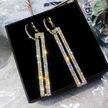 FYUAN мода длинные Геометрическая Роскошные серьги цвета: золотистый, серебристый Цвет прямоугольник серьга со стразами для Для женщин вечерние украшения подарок
