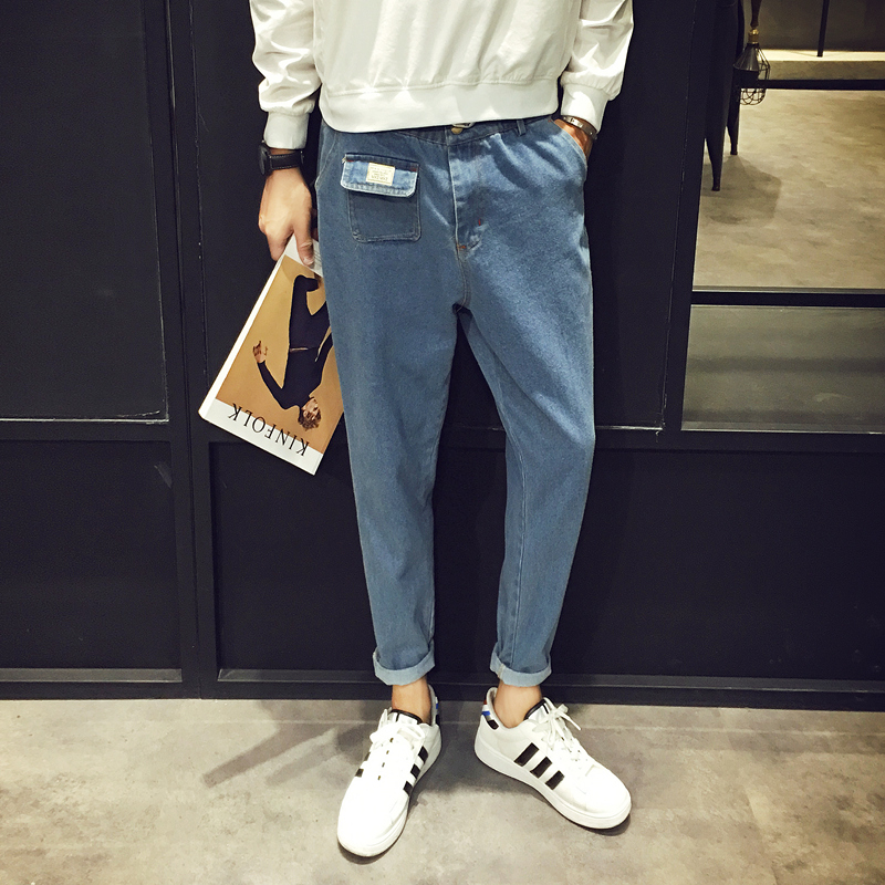 2018 New Mens Fashion trend Casual Stretch Slim Fit Jeans Homme Pants Blue Pocket Decorate Wash Denim big size Trousers 28-34