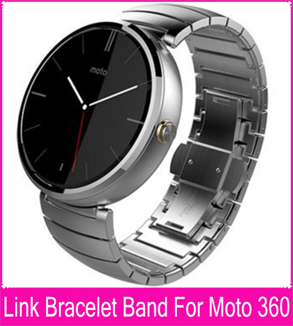 Black Silver 22mm Link Bracelet Steel Watchbands For Moto 360 Band For Motorola Moto 360 Smart Watch + Tool + Connecting Rod hot 22mm white 100% genuine leather watch strap bands for motorola moto 360 smart watch