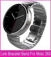 Noir argent 22 mm Bracelet bracelets en acier pour Moto 360 Band pour Motorola Moto 360 montre Smart Watch + outil + bielle