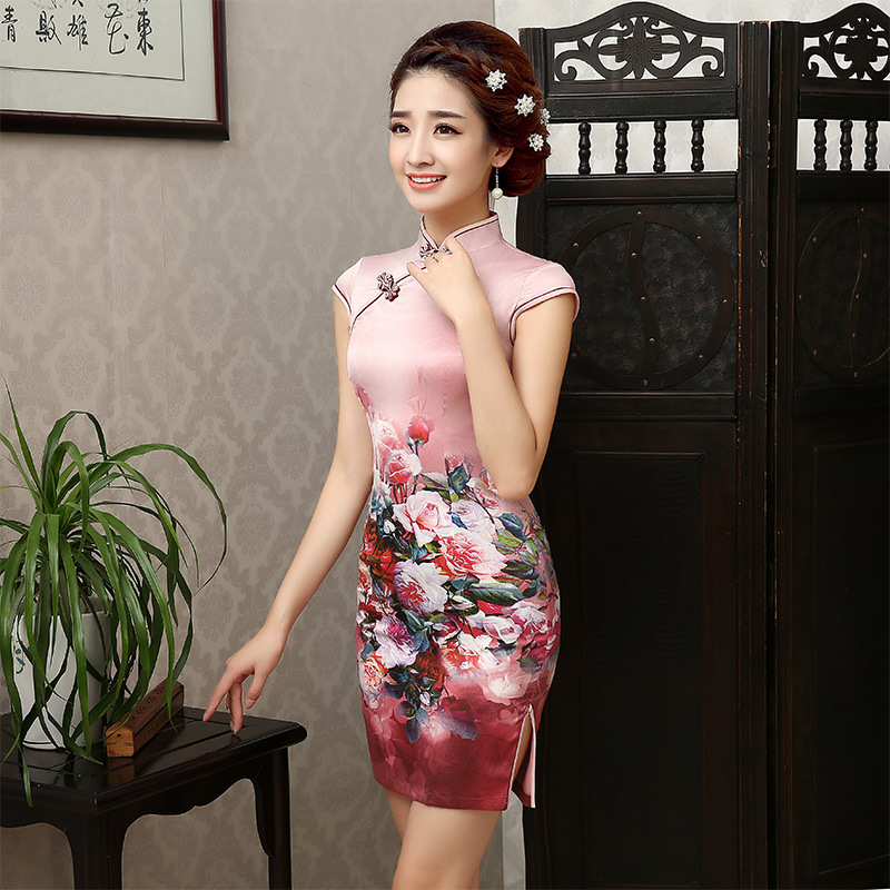 New Short Summer Women <font><b>Sexy</b></font> Cheongsam Female Evening Party <font><b>Dress</b></font> Cosplay Short Satin Qipao Vintage <font><b>Chinese</b></font> Traditional <font><b>Dress</b></font> 18 image