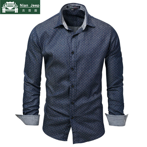Hot Sell Brand 2018 Men Polka Dot Denim Dress Shirt Long Sleeve 100% Cotton High Quality Casual Shirt Male Social Shirts 3XL 120 Pakistan