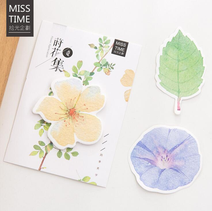 Creative Leaves And Flowers Memo Pad N Times Sticky Notes Escolar Papelaria School Supply Bookmark Label