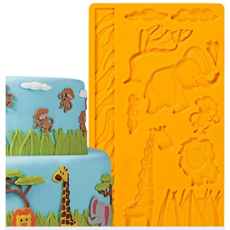 Силикондардан жасалған бұйымдар Шырша пішіні Фондант және құмыра пастасы Металдан жасалған торттар декорациялар Домалақ зообары Animal D917