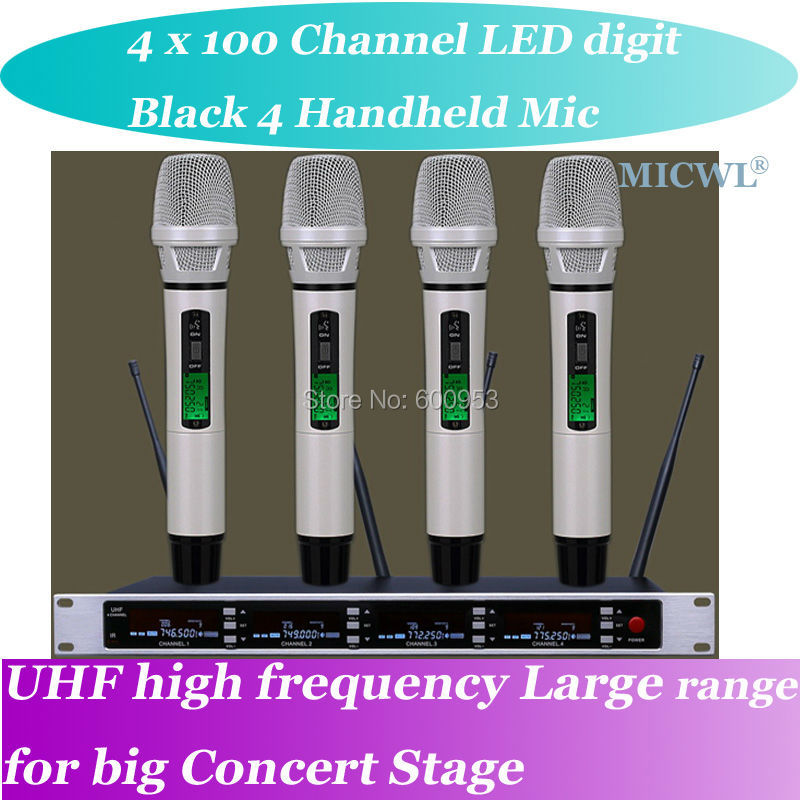 MICWL SP4 Bianco High-End UHF LED digital Wireless DJ & Karaoke Microfono SistemaMICWL SP4 Bianco High-End UHF LED digital Wireless DJ & Karaoke Microfono Sistema
