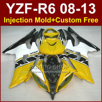 Perfect yellow Injection mold custom fairings for YAMAHA 2008 2009 2011 2013 YZF R6 bodywork YZF R6 08 13 aftermarket YZF1000 R6