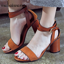 Sexy Design Women Sandals Ankle Wrap Peep Toe Summer Shoes Woman Gladiator Thick Heel Women Pumps Sandalias Mujer
