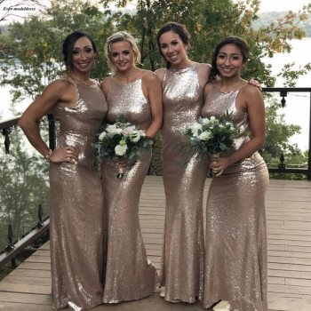 2019 Sequined Sheath Bridesmaid Dresses O Neck Sleeveless Spaghetti Straps Floor Length Modern Formal Maid Of Honor Custom Made фото