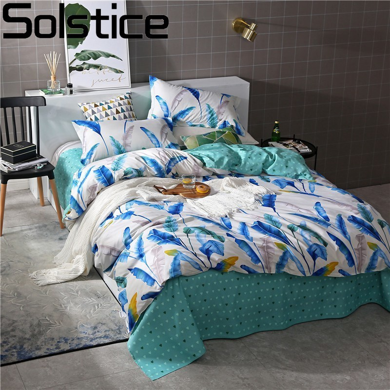 Solstice Home Textile Banana Leaf Light Cyan Bed Linen Boy Kid Teen Bedding Sets 3-4Pcs Girl Child Duvet Cover Sheets Pillowcase