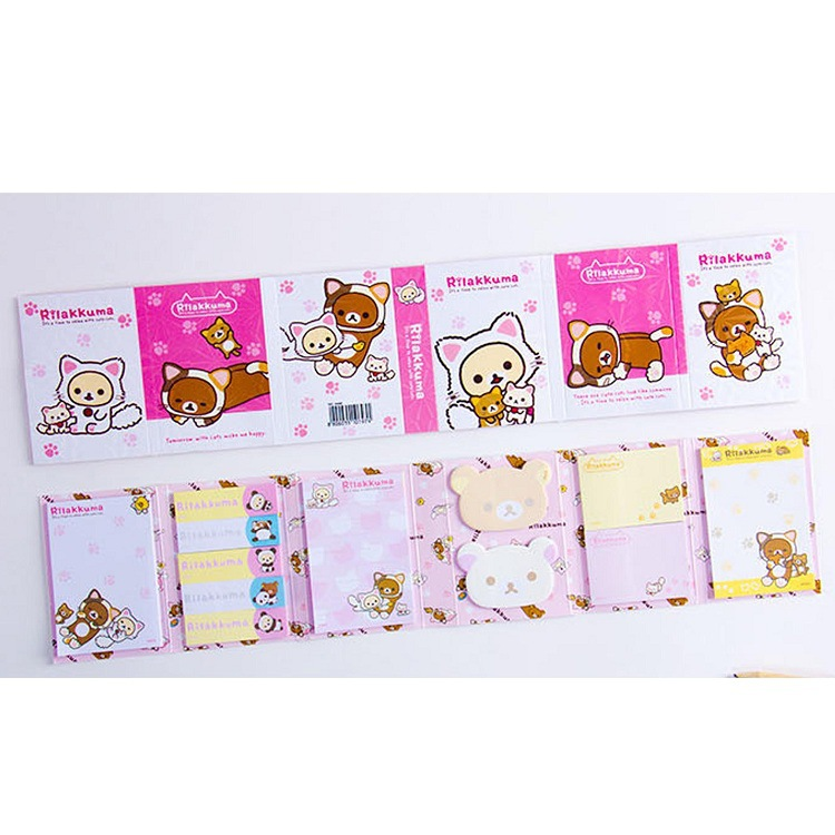 Image 2 - 12 pcs/lot Cartoon Rilakkuma Hat 6 Folding Memo Pad N Times Sticky Notes Memo Notepad Bookmark Gift StationeryMemo Pads   -