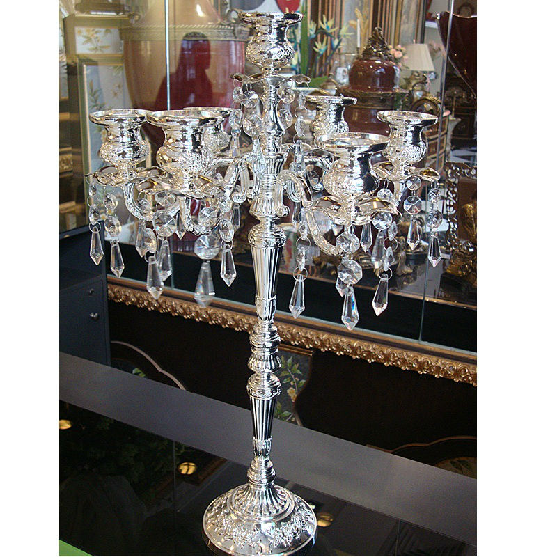 2017 New Home Decor Retro Candlesticks Wedding Decoration Silver Plated Candelabra Embossed Decorative Crystal Candle Holders