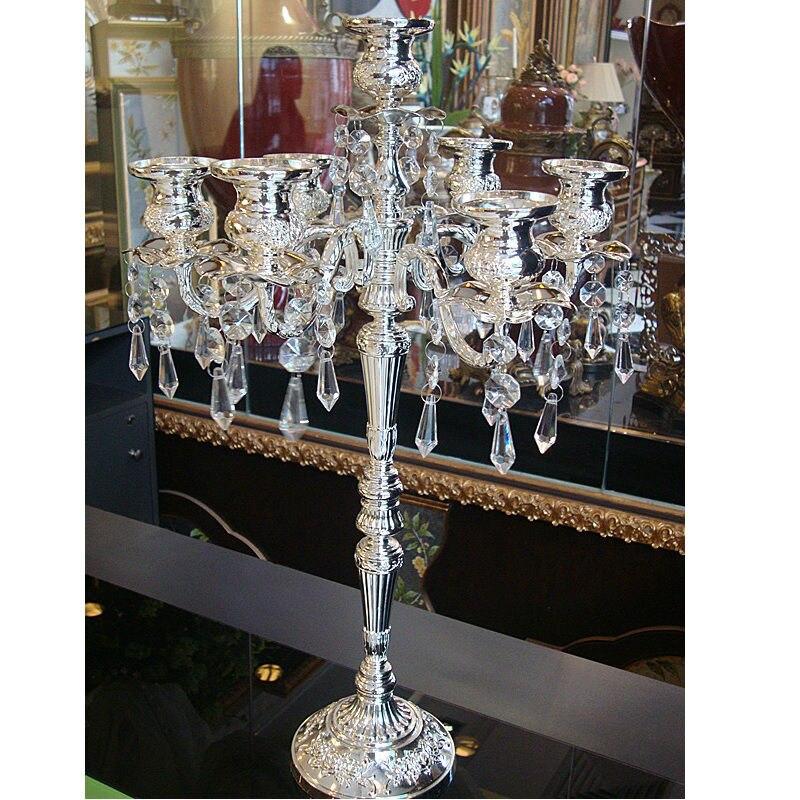 2019 nouveau décor à la maison rétro bougeoirs décoration de mariage candélabre plaqué argent en relief décoratif bougeoirs en cristal
