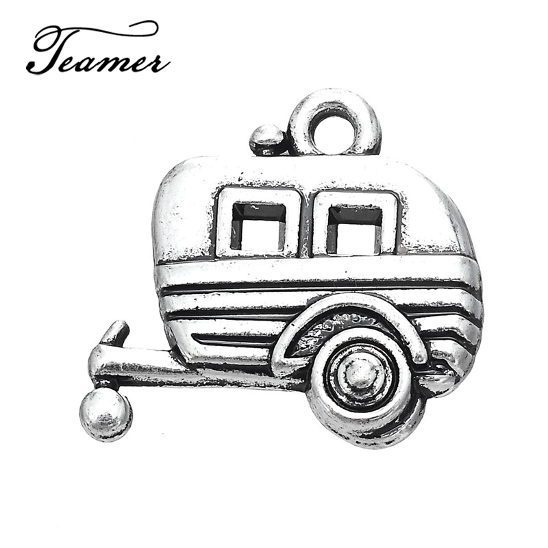 Teamer 10pcs/lot Camper Car Trailer Pendant Charms for DIY Necklace Bracelet Making Best Gifts Cute Jewelry Finding image