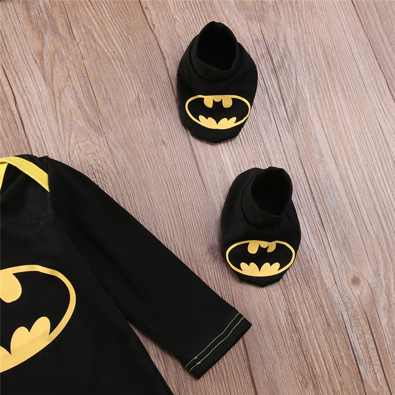 Infant Baby Kids Boy Outfits Batman Superhero Romper 3PCS Hat+Playsuit+Shoes Set