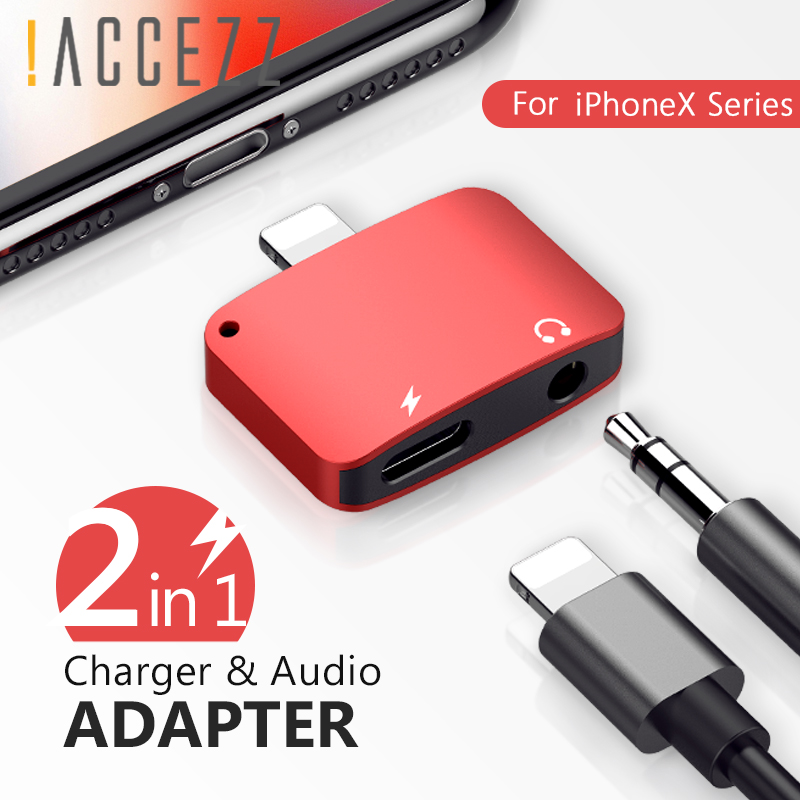 !ACCEZZ Phone Charging Adapters <font><b>For</b></font> <font><b>iphone</b></font> <font><b>X</b></font> 8 7 Plus XS MAX XR 3.5mm jack splitter Audio Cable Charger <font><b>Connector</b></font> Converter image