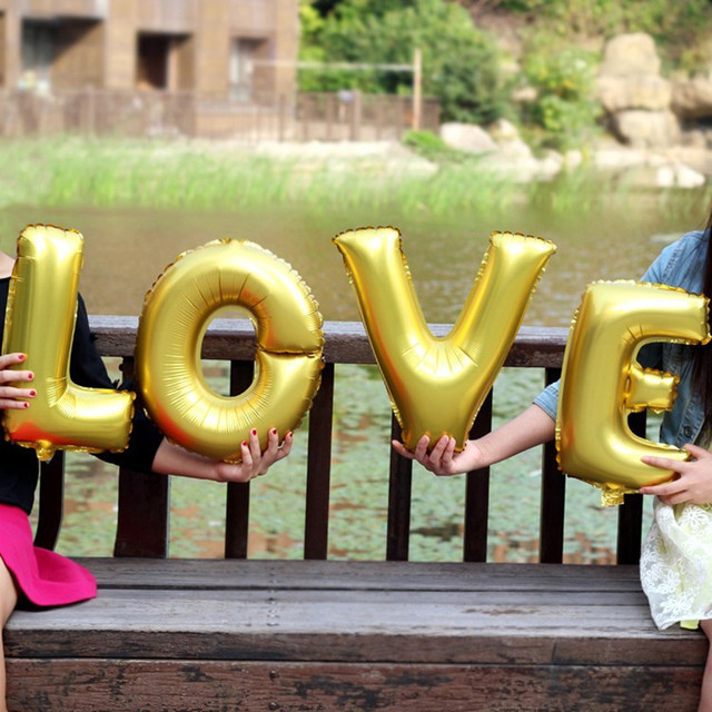 4pcsset 16 inch gold letter love foil balloons wedding party decoration air