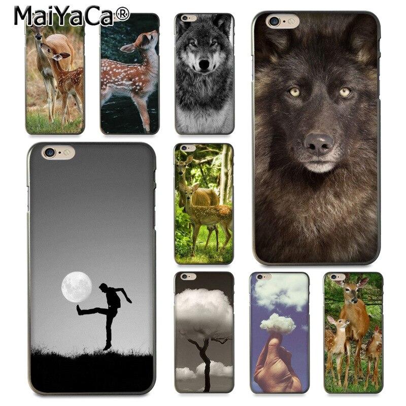 Maiyaca забавные облако олень Волк Дизайн моды кожа тонкий ПК cell чехол для iphone 8 7 6 6 S Plus X 10 5 5 S SE 5 C Coque В виде ракушки