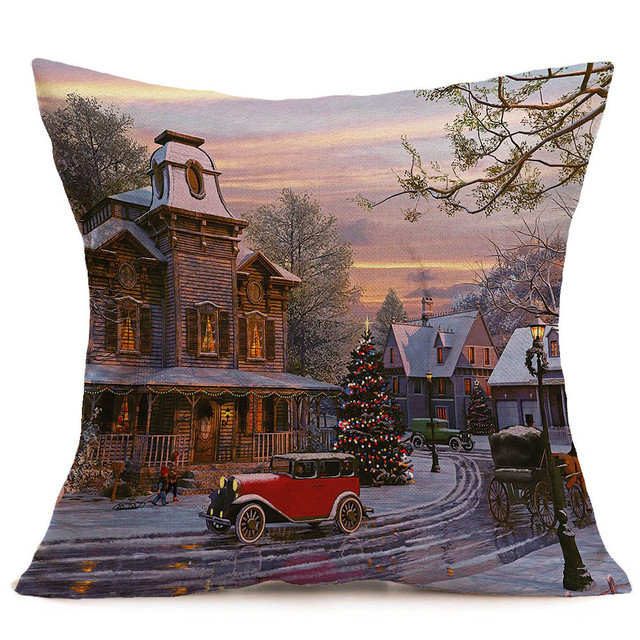 Merry Christmas Pillowcases Cotton Linen Printed Decorative Pillows For Sofa Car Seat Cushion Cover Throw Pillow Case Home decor