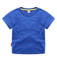 где купить 2019 new children's clothing children's summer short-sleeved T-shirt boy solid color shirt baby half-sleeved t-shirt top по лучшей цене