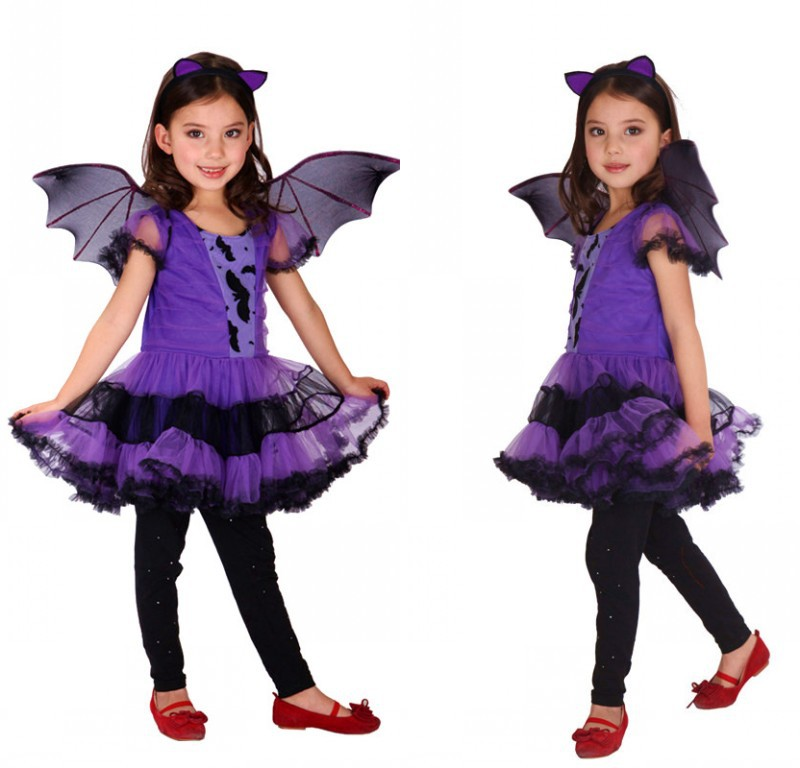 2019 Hot Animal Bat Girl Children Costume Halloween Costume Kids Fancy Purple Bat Costume Suitable For 100-140CM