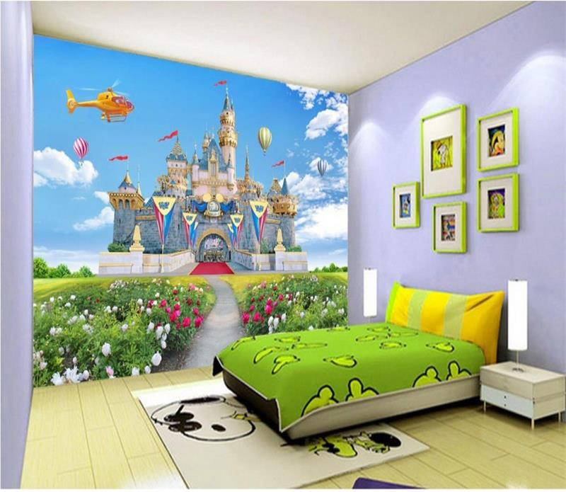Custom 3d photo wallpaper kids room mural castle spring for Castle mural kids room