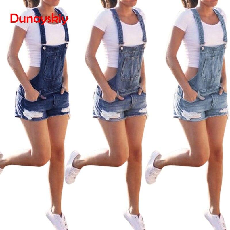 Women Summer Spring Fashion Hole Denim Mini Super   Short   Sexy Casual Bib Overalls   Shorts   Strap   Short