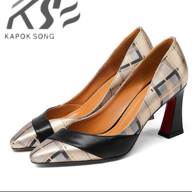 new European American fashion small squares thick heels high-heeled shoes printed really leather excellent quality 2016 spring new european and american fashion shoes thick with fish head shoes nightclub new ultra high heels sandals b454