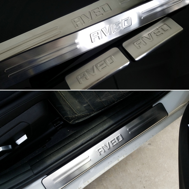 car accessories stainless steel exterior scuff plate door sills for chevrolet aveo sonic 2011. Black Bedroom Furniture Sets. Home Design Ideas