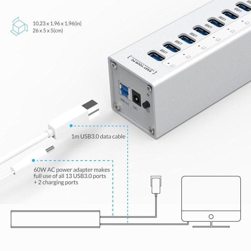 ORICO A3H13P2 SV aluminium 13 Ports Multi USB3.0 répartiteur de moyeu avec 2 Ports de charge 5V2. 4A Super chargeur/5V1A universel argent - 3