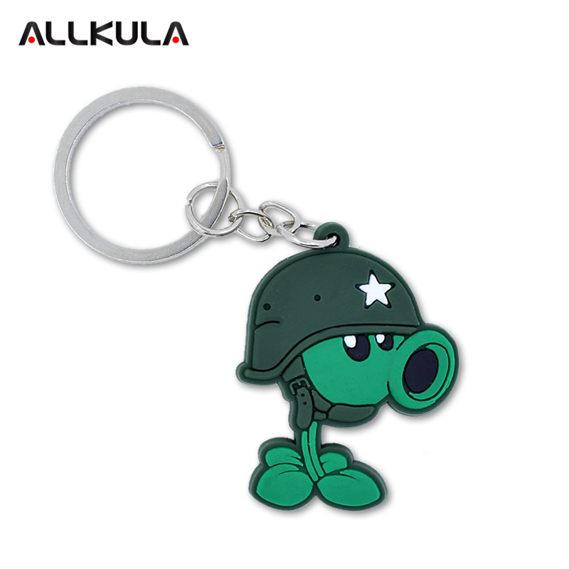 4 Styles Cute Plants Vs Zombies Action Figure Soft PVC Keychain Cartoon Peashooter Key Chains Peripherals