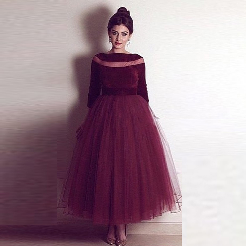 Dresstells Burgundy Prom Dresses Scoop Long Sleeves Tulle Ball Gown ...