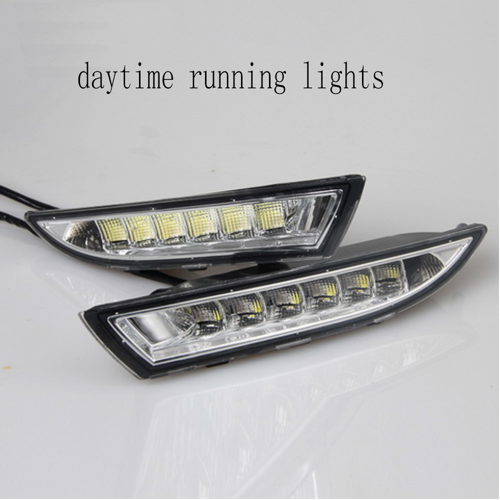 1 pair auto lamp LED for V/olkswagen R s/cirocco 2009-2013  DRL with Yellow Turning Function Daytime Running Light