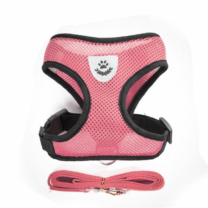 Дышащие поводок маленькая шлейка для собаки домашнего животного и поводок для собак щенков кошек жилетка-поводок ошейник для собак, поводок для маленьких собак из сетчатой ткани в виде мопса, бульдог - Цвет: Розовый