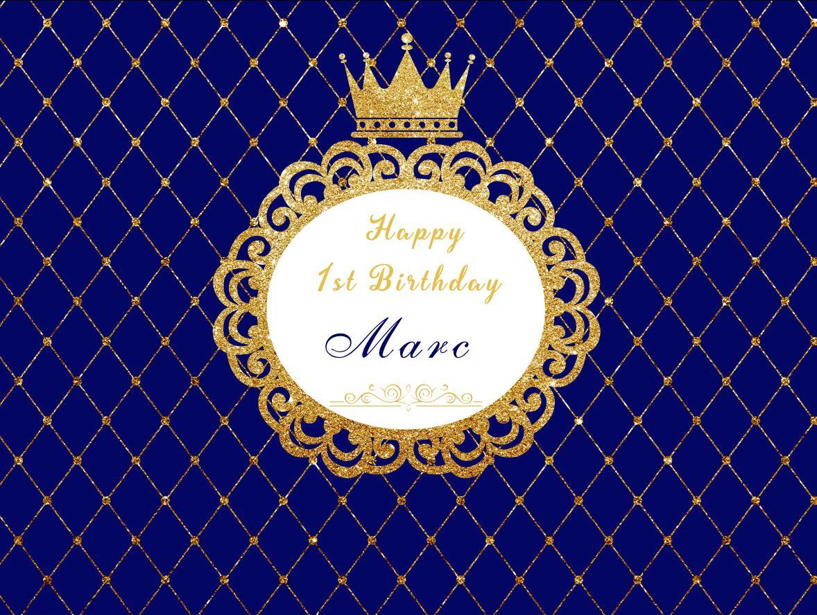 HUAYI 10X8ft heureux d'anniversaire petit prince royal rideau d'or couronne bébé douche accessoires photo backdrop w-1013