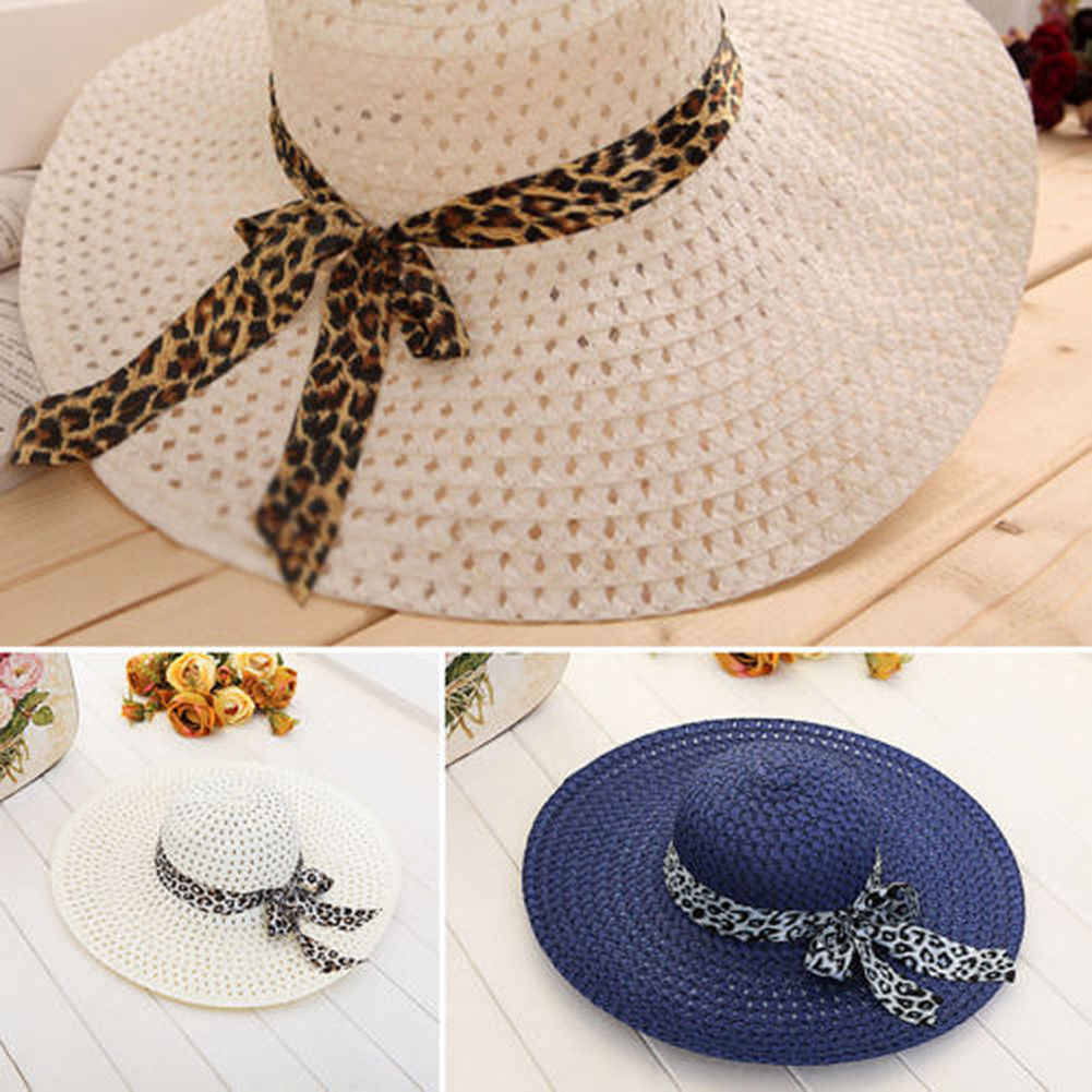 846e6ae8ae5 2018 summer straw hat women big wide brim beach hat sun hat foldable sun  block UV