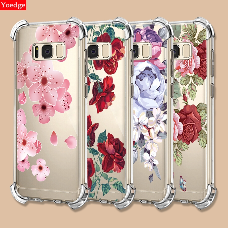 Airbag Clear Case For <font><b>Samsung</b></font> Galaxy J2 J5 J7 Prime J3 2017 <font><b>2016</b></font> A6 A8 Plus J4 J6 <font><b>A9</b></font> A7 2018 A6S A9S Flower TPU Shockproof Cover image