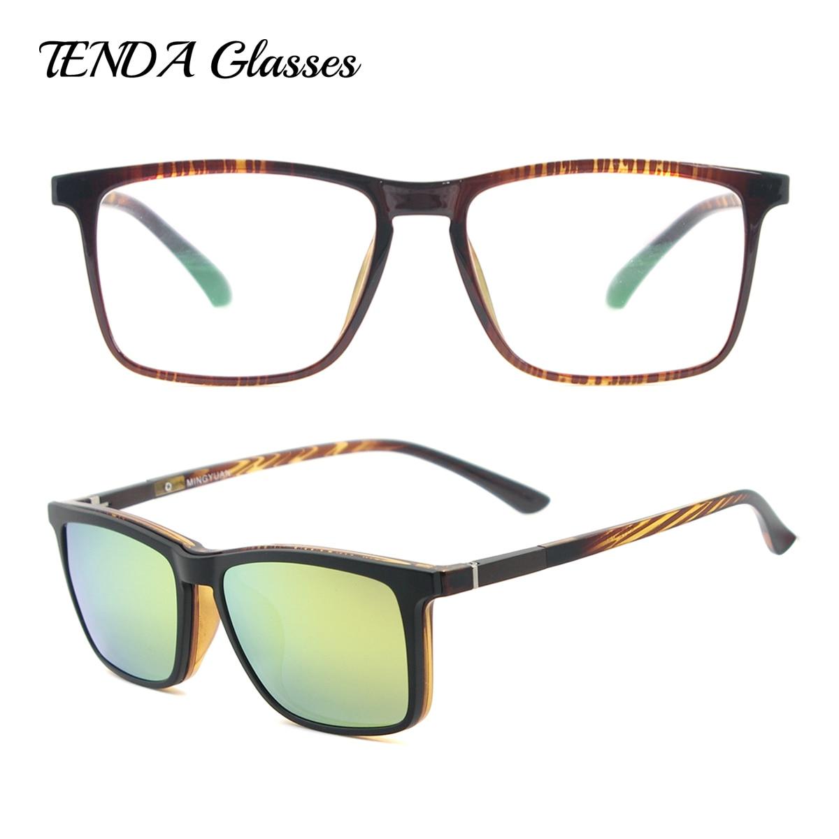 56bab7a476 Hombres cuadrados Clip polarizado gafas de sol de moda Flexible ligera TR90  Vintage gafas de grado lentes