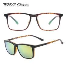 Men Square Polarized Clip On Sunglasses Fashion Lightweight Flexible TR90 Vintage Glasses Frames For Degree Lenses