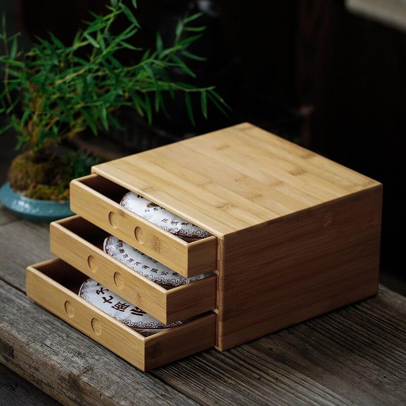 Stockage créatif Puer boîte à gâteau Teaware Casier Plateau Naturel Bambou Multi-couche Tiroir Pu'er Séparateur cérémonie du thé Accessoires
