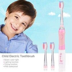 Criança à prova d' água Função de Temporização Vibração escova de Dentes Elétrica de Cerdas Macias escova de Dentes Elétrica Criança Colorido Luz Oral Care 31