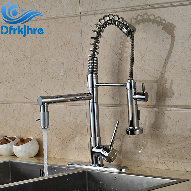цена на Newly Design Chrome Finished Deck Mounted Swivel Spout Kitchen Sink Faucet With Cover Plate